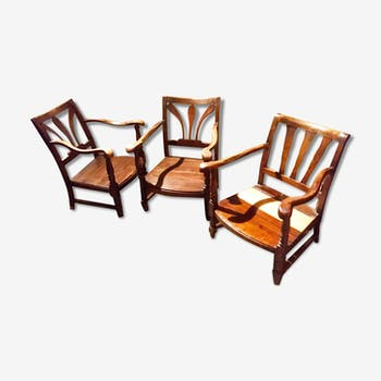 3 wooden armchairs