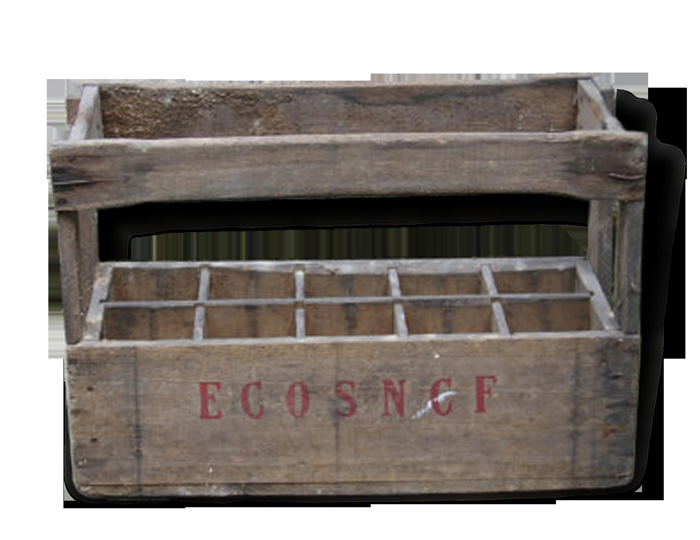 Ancienne caisse bois vintage eco sncf caisse à vin bouteilles