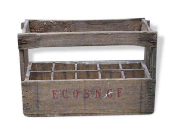 ancienne caisse bois vintage eco sncf caisse vin 10 bouteilles brut rangement organiseur. Black Bedroom Furniture Sets. Home Design Ideas