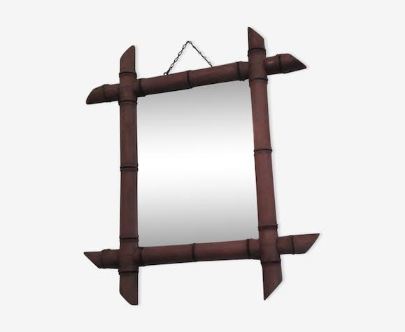 Miroir bambou années 50 38x42cm