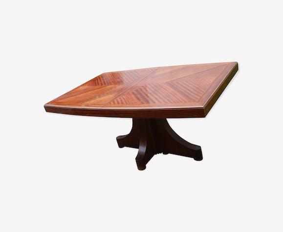 Table de salle manger en marqueterie avec pied central bois mat riau bois couleur - Table de salle a manger pied central ...