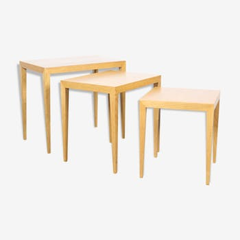 Set of 3 nesting tables in oak by Severin Hansen