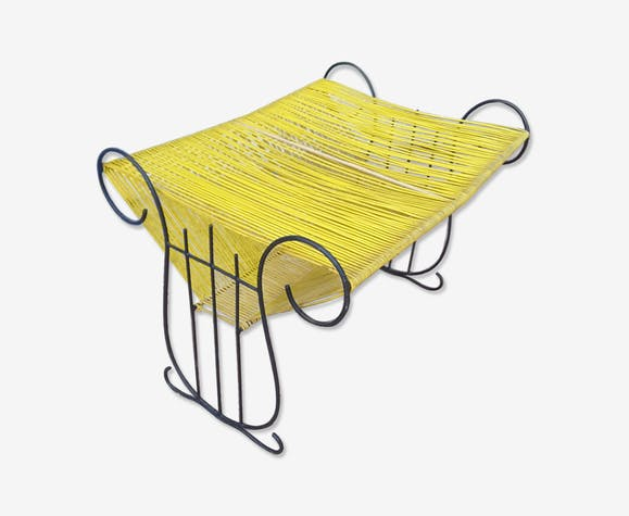 Porte revue en scoubidou jaune
