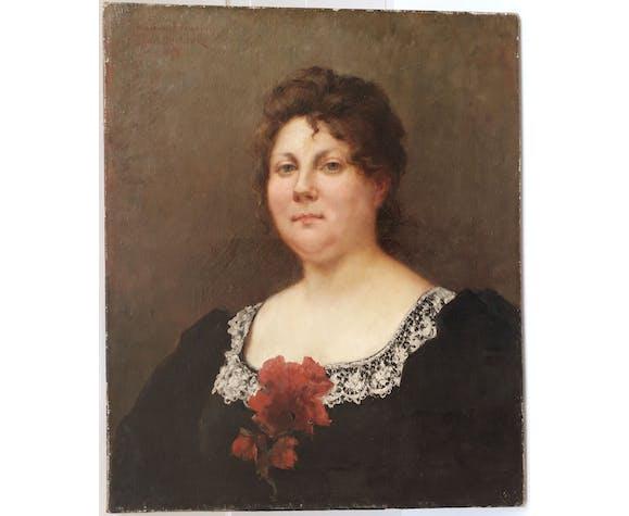 Portrait de femme au col de dentelles Désiré Trouillebert 1897