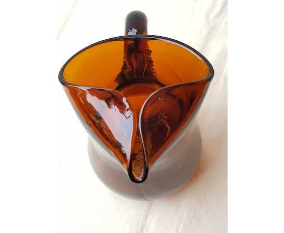 Amber glass pitcher