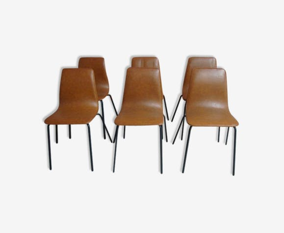 En Chaises Vintage Empilables 12ma7l3 Skaï Six Marron DWE9HI2