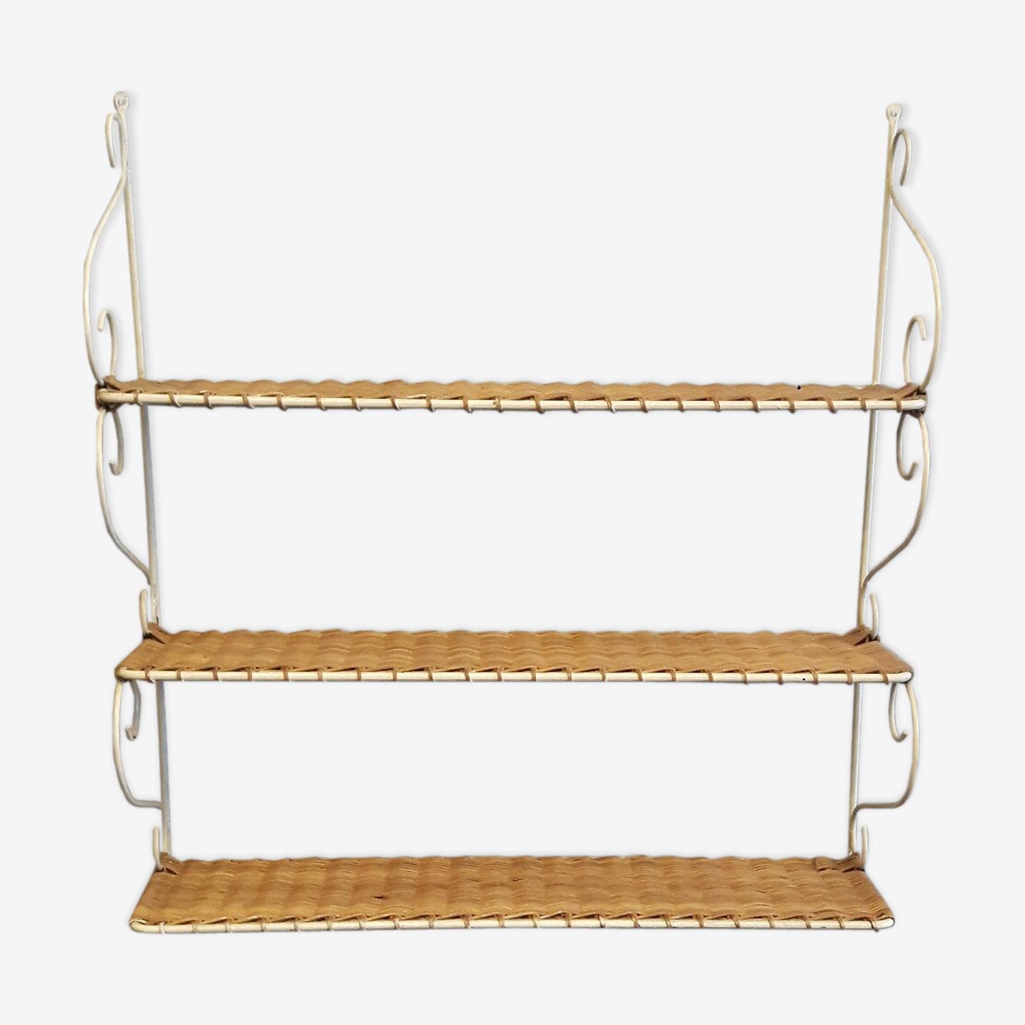 Rattan and metal wall shelf