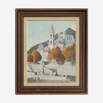 """François Szulman (1931) Huile sur toile """"Dolceaqua"""""""