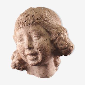 Buste statuette sculpture terre cuite style art déco 1930 petite fille