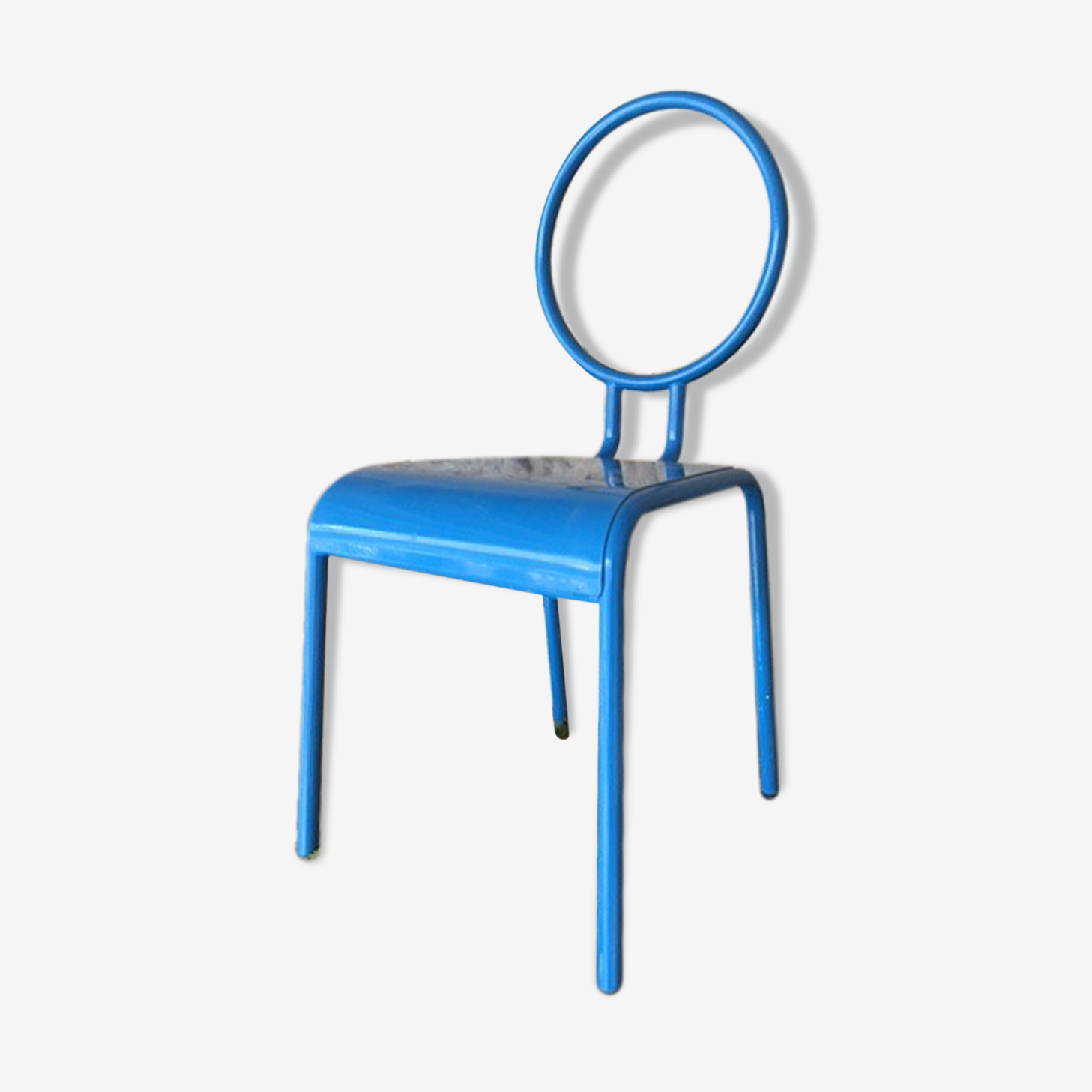 Chaise enfant en metal bleu