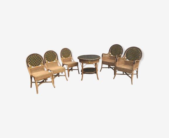 Salon en rotin vintage, mobilier de jardin 1930 - rotin et ...