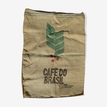 Sac toile de jute Café do Brasil rayures bleues
