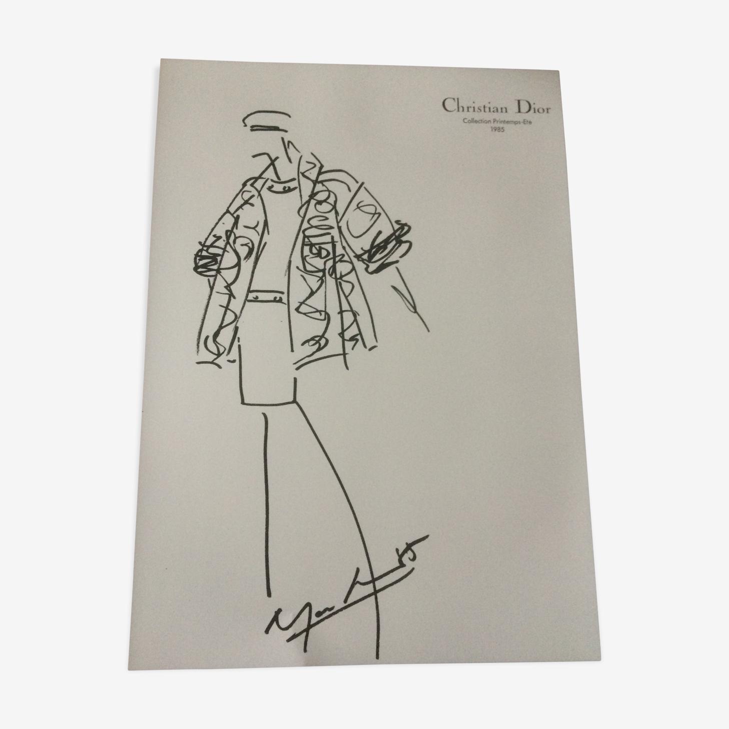 Croquis de mode vintage de presse en noir et blanc Christian Dior