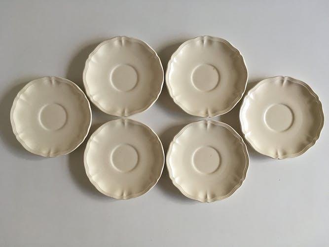 Assiettes à dessert 19cm faience Sarreguemines ivoire à godrons