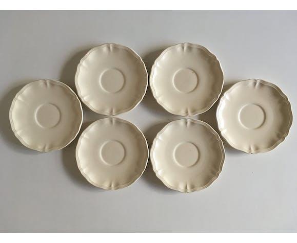 Dessert plates 19cm faience Sarreguemines ivory with godrons