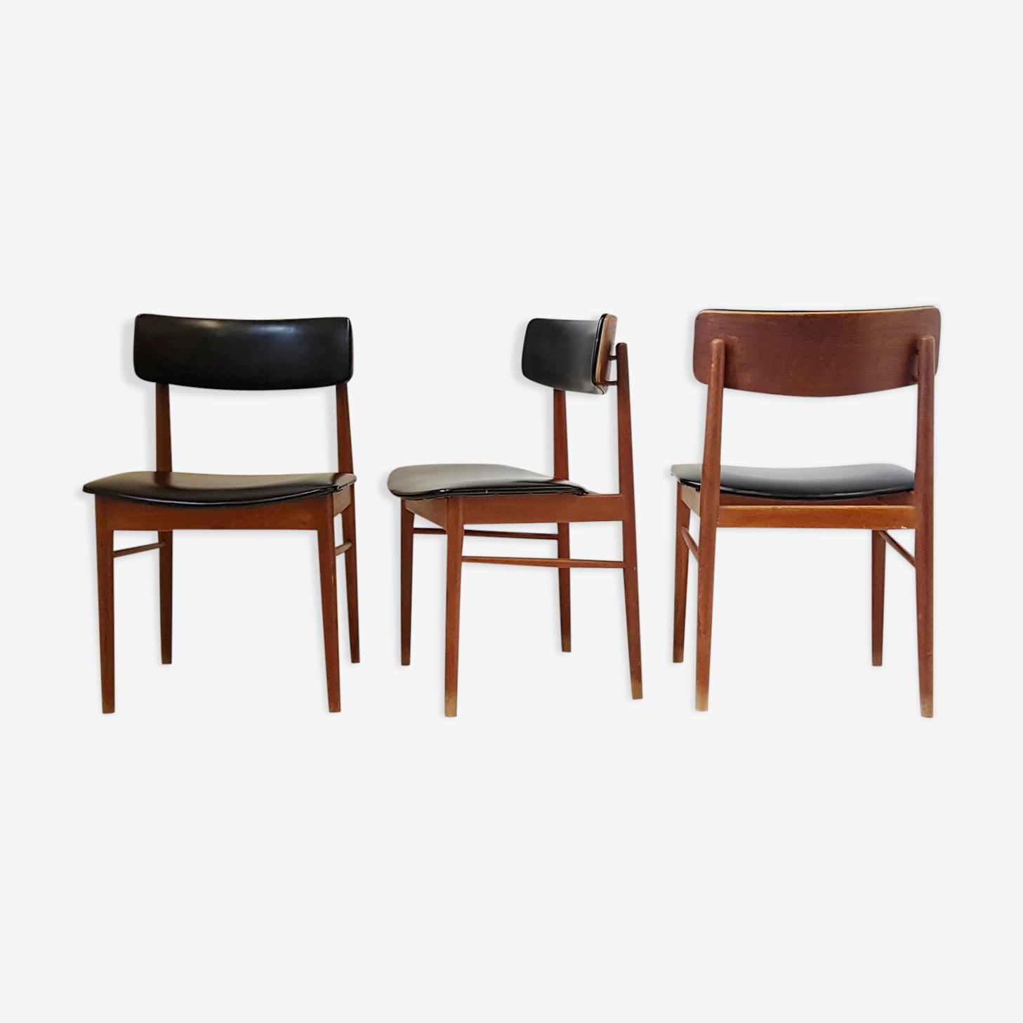 Suite de 3 chaises de S. Chrobat pour Sax 1960 vintage