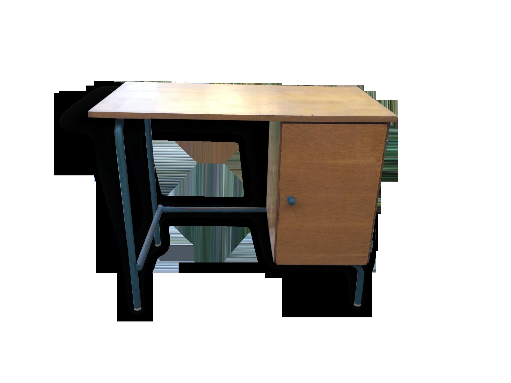 Bureau d instituteur vintage pieds métal bois matériau