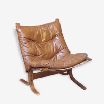 Pair of chairs leather ingmar relling 1964 Westnofa Siesta.