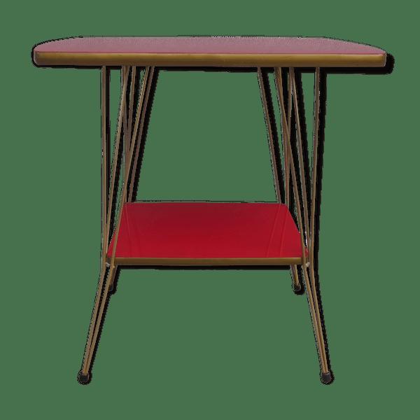 table d 39 appoint desserte pied eiffel et formica m tal rouge vintage qhubgkg. Black Bedroom Furniture Sets. Home Design Ideas