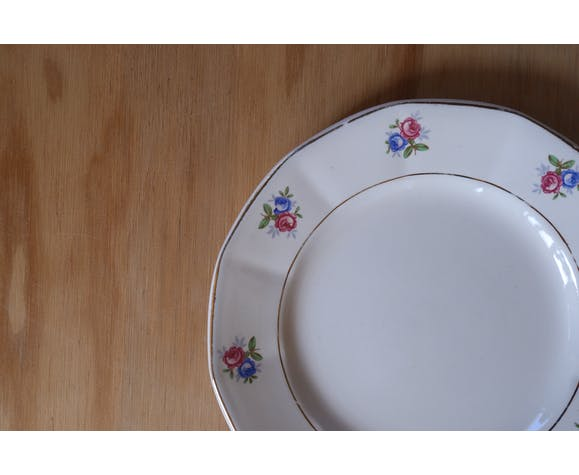 9  assiettes fleuries Digoin & Sarreguemine