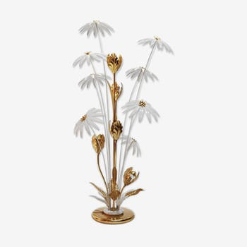 Brass, gilded and white floral lamp by Hans Kogl, 1970s