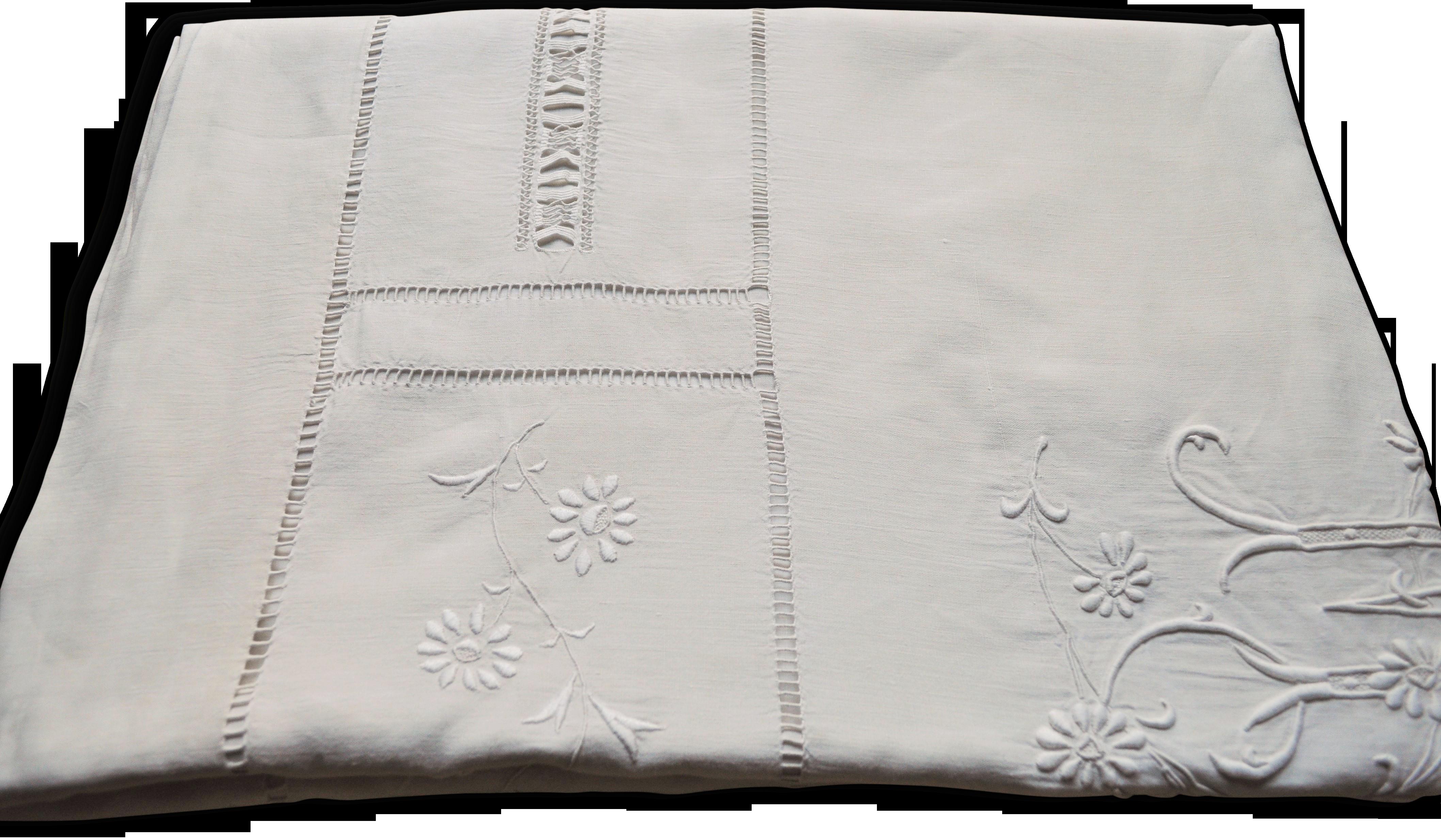 Exceptionnel drap ancien en pur fil de lin