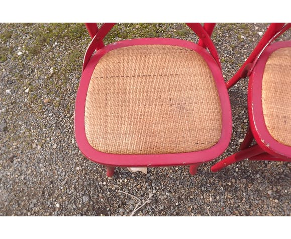 Lot de 4 chaises de bistrot bois et cannage