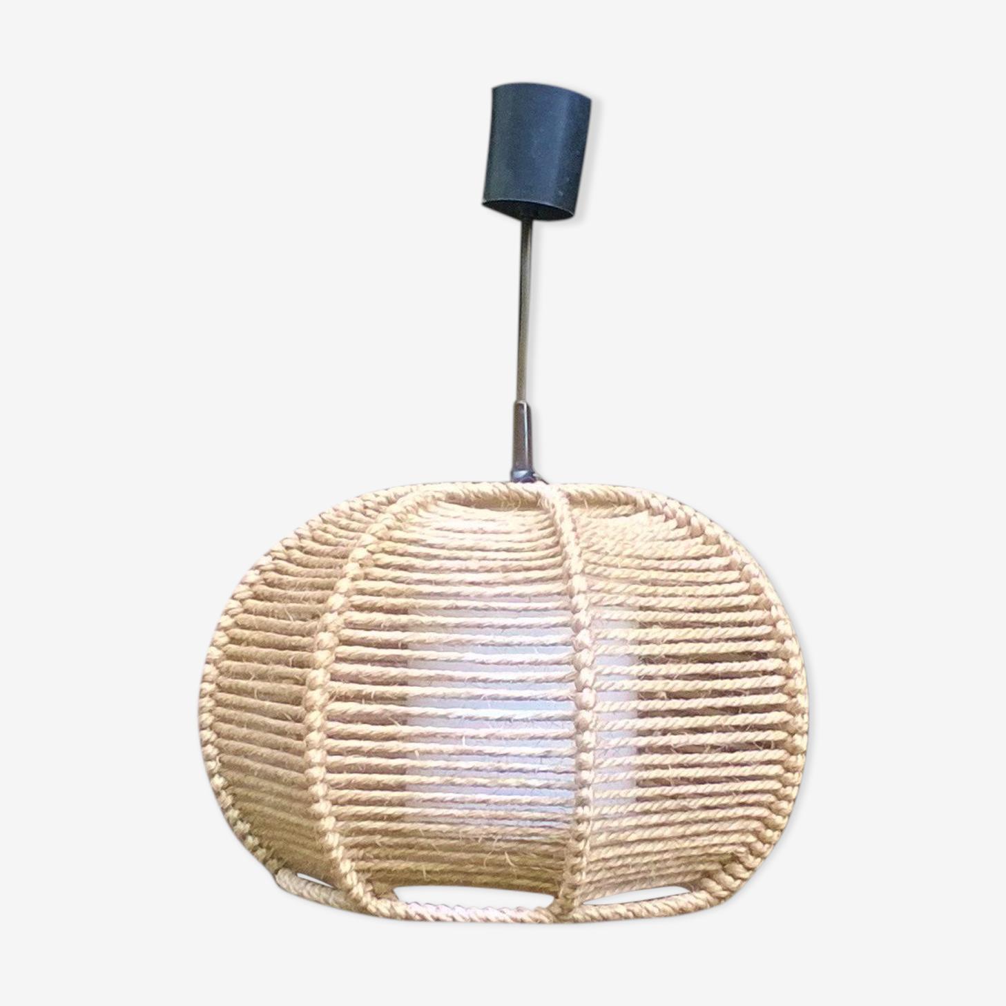 Suspension boule corde tressée
