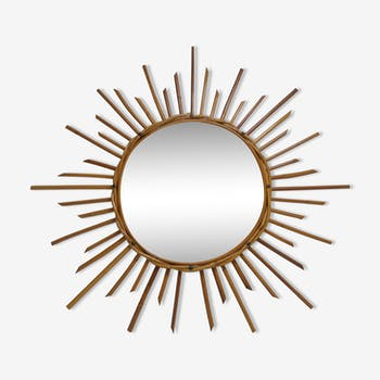 Miroir soleil bambou année 60 - 65x65cm
