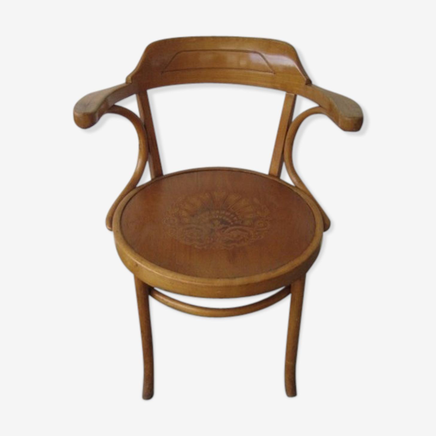 Chaise en hêtre avec accoudoirs et imprimer sur siège Luterma