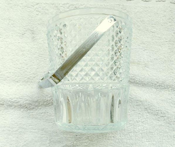 Seau à glaçons en verre taillé
