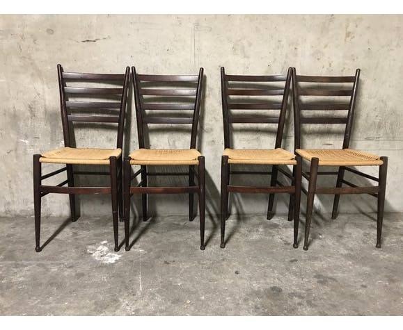 4 danish chairs wood and strings