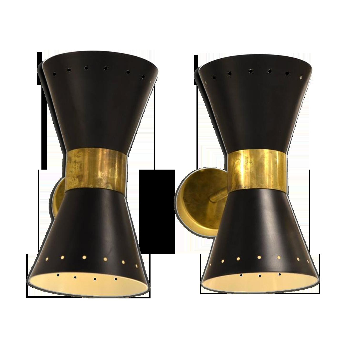 Paire d appliques diabolo noir en laiton design italien métal