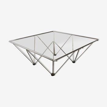 1980 glass square coffee table