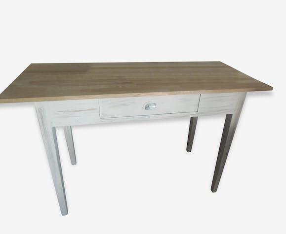 Bureau table patiné gris perle plateau chêne naturel bois