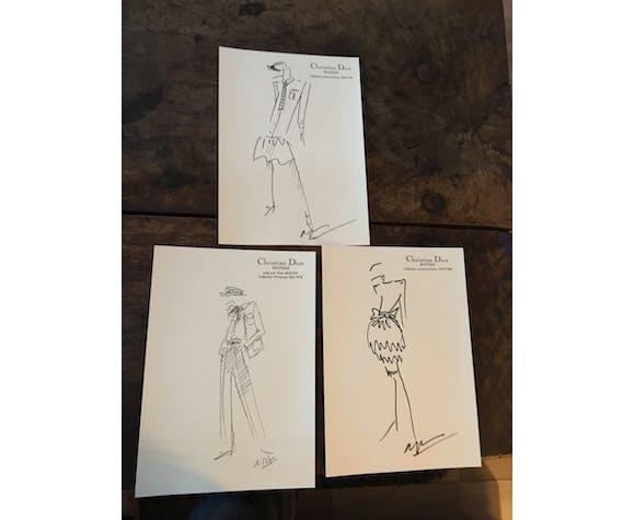 Illustration de mode de presse Christian Dior collection printemps/été 1980