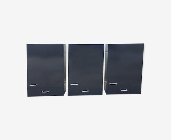 3 placards formica noir de salle de bain années 70 - formica - noir ...