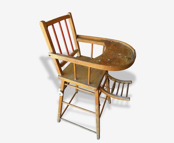 ancienne chaise haute bois bébé