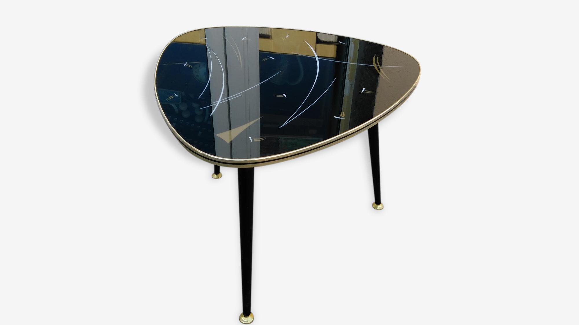 Table Tripode Années 50 table basse tripode années 50 forme médiator pieds compas - bois
