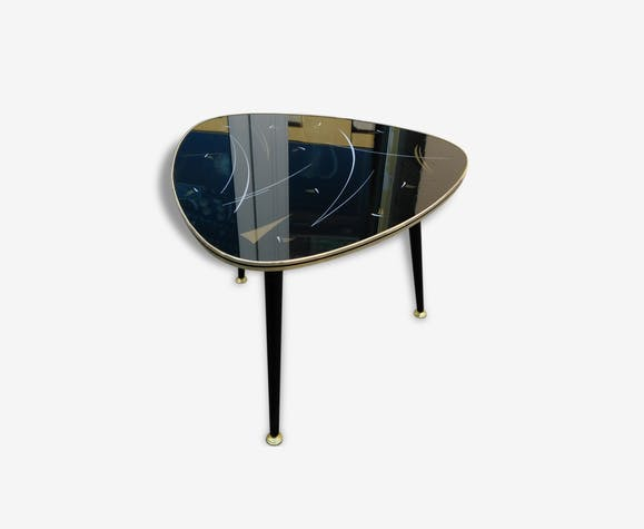 table basse tripode ann es 50 forme m diator pieds compas bois mat riau noir vintage. Black Bedroom Furniture Sets. Home Design Ideas