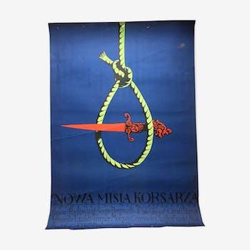 """Affiche originale du film polonais de Jerzy Flisak """"Ne misssion of the Corsairs"""", 1970"""