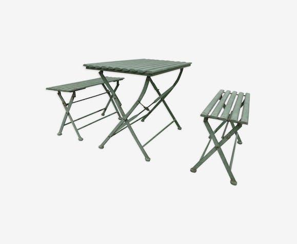 Ancien salon de jardin pour enfant en métal - fer - vert - vintage ...