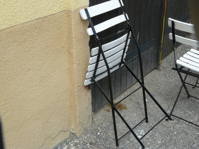 Set of four folding garden chairs