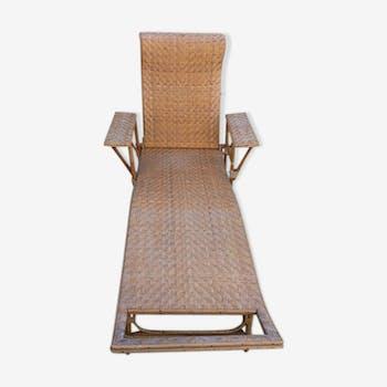 Transat chaise longue en rotin des années 30