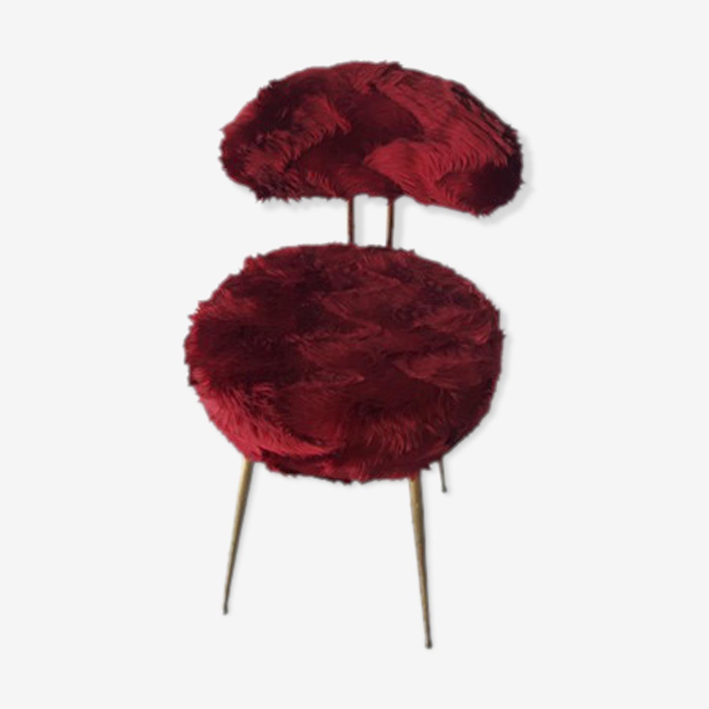 Chaise moumoute bordeaux