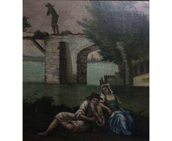 Peinture ancienne «Le rendez-vous romantique» par un artiste inconnu.