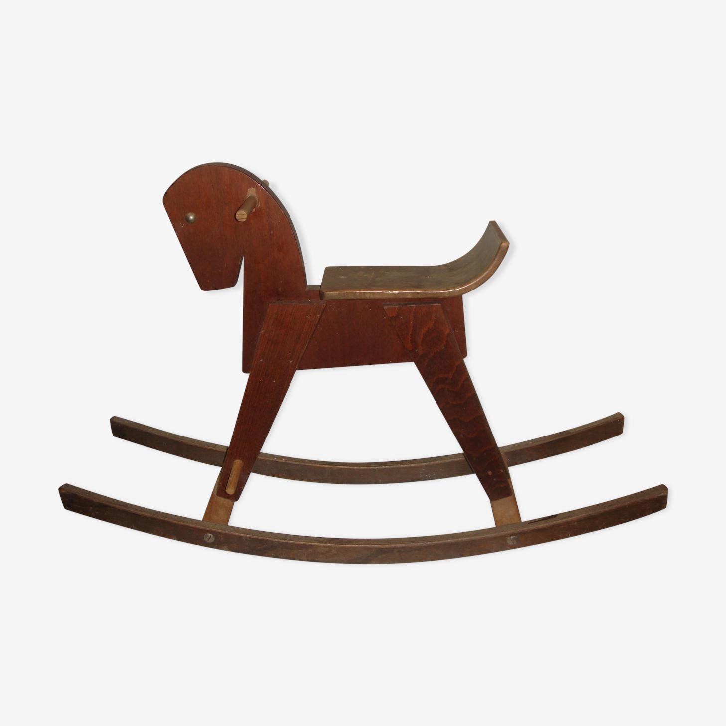 """Cheval à bascule en bois vintage """"dejou"""" de 1960"""