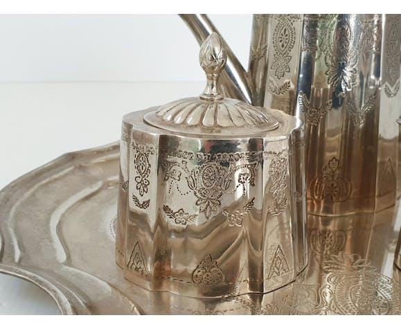Service à café en métal argenté art déco