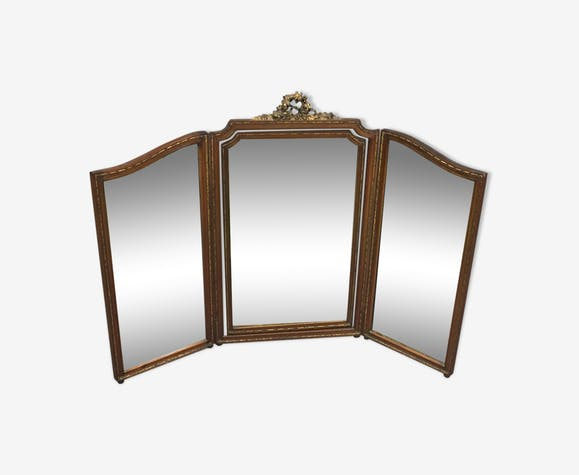 Miroir triptyque début du XXème siècle de style Louis XVI en acajou ...