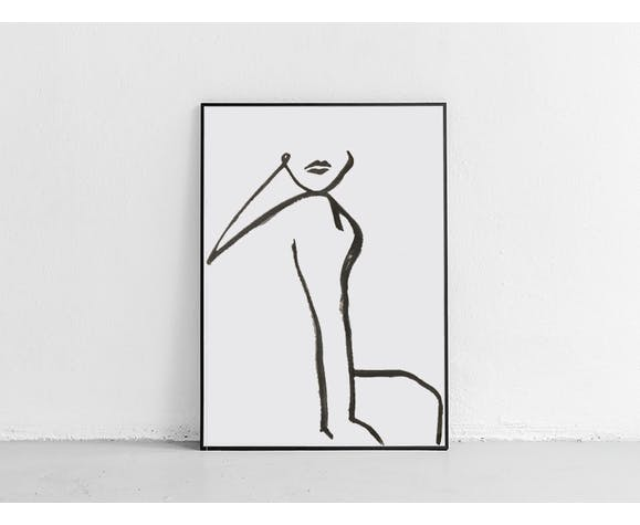 "Illustration ""Waiting woman"" - 30x42cm"